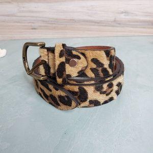 NEW Talleffort Leopard Print Leather Women's Belt